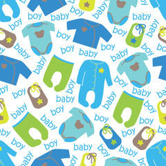 Clothes for newborn baby boy seamless pattern.Baby boy