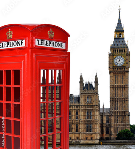 Telephone box and the Big Ben in London,England,UK