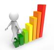 3d businessman on a graph