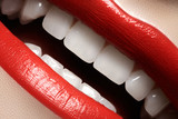 Close-up happy smile with healthy white teeth, red lips make-up