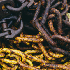 Close up of industrial chains in a heap.