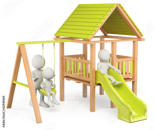 3D white people. Children playing on a playground