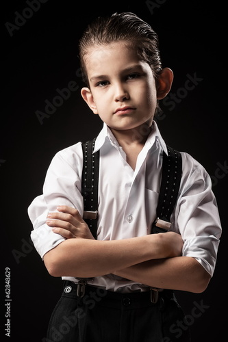 Portrait of a boy in an image of the gangster