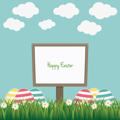 happy easter sign board colorful eggs daisy meadow
