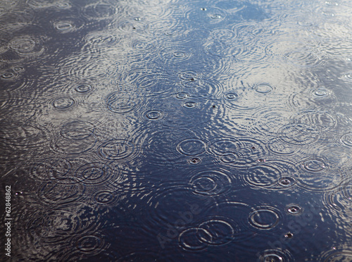 Rain drops and ripples on a pool of water.