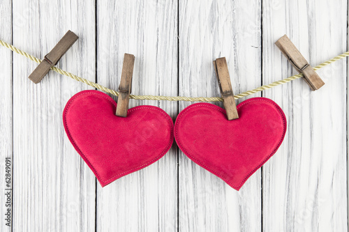 Red Heart with Clothespin