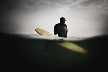 Surfer on Surfboard, Anticipating Wave
