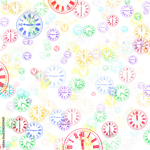 Multicoloured Clocks Abstract Background