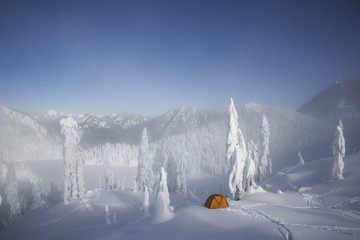 A bright orange tent among snow covered trees, on a snowy ridge overlooking a mountain in the distance.