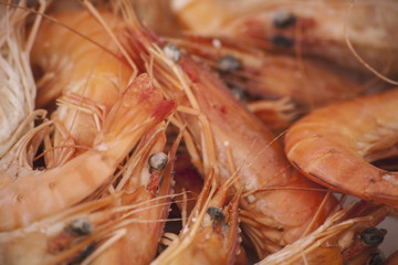 A dish of freshly cooked prawns with shells, heads and tails on. Seafood.