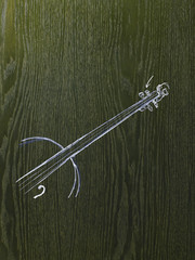 A line drawing image on a natural wood grain background. The neck and strings of a woodwind musical instrument.