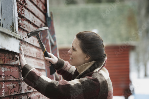 An organic farm in upstate New York, in winter. A woman with a hammer repairing the shingles on a barn.