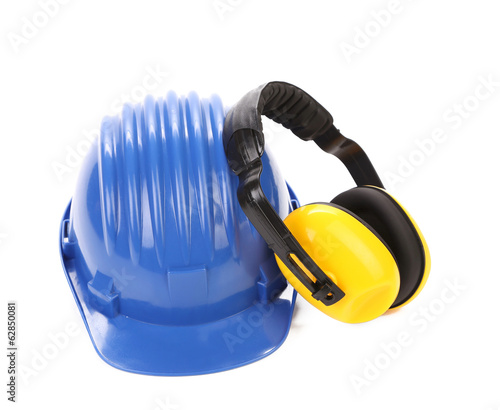 Working protective headphones on hard hat