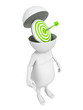 white 3d man with green darts target in opened head