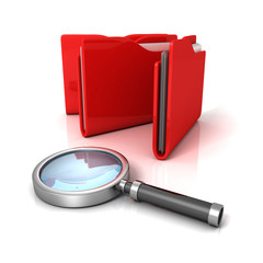 red office document paper folders with magnifier glass. Searchin