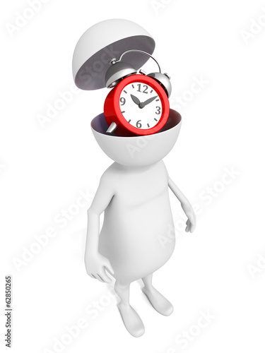3D human waiting with alarm clock in opened head
