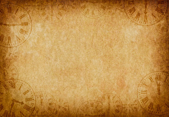 Vintage Grunge Parchment Background with Clock Faces Landscape