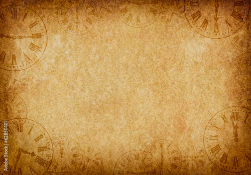 Vintage Grunge Parchment Background with Clock Faces Landscape - 62850401