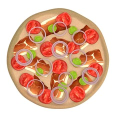 realistic 3d render of pizza