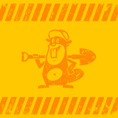 Background construction zone beaver holds shovel