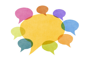 Conversation -  Abstract Watercolor Painted Speech Bubbles