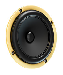 Loud gold sound speaker isolated