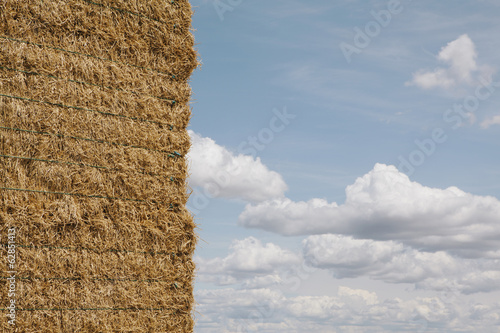 Haystack, stacked bales of hay in a field.