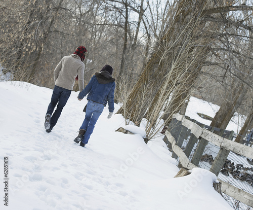 Winter scenery with snow on the ground. A couple walking hand in hand along a path.