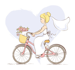 Bride on a bicycle