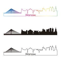 Warsaw skyline linear style with rainbow
