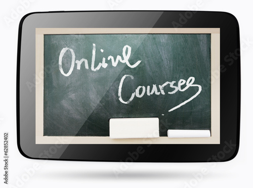 Blackboard inside computer tablet with Online Courses chalk text