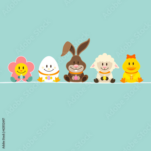 Easter Bunny & 4 Friends Retro