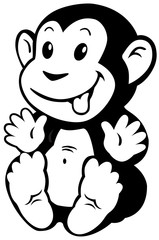cartoon monkey black white