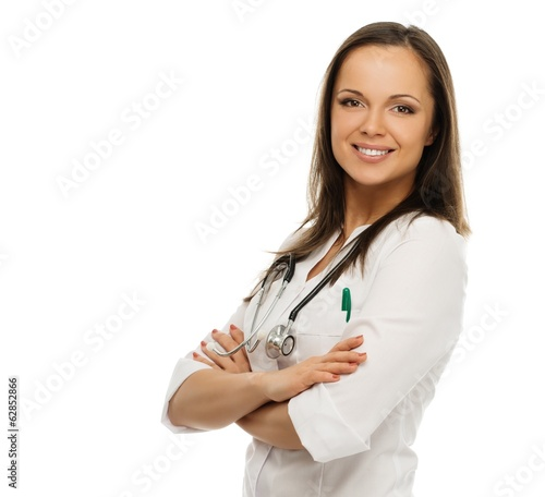Young positive brunette doctor woman isolated on white