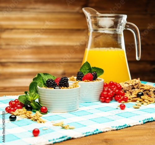 Healthy breakfast with fresh orange juice