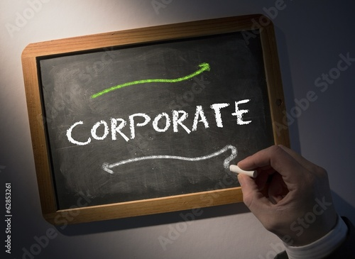 Hand writing Corporate on chalkboard