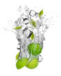 Fresh limes falling in water splash