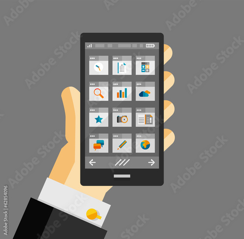 Businessman hold smartphone with apps