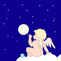 Funny little angel blow bubble as moon