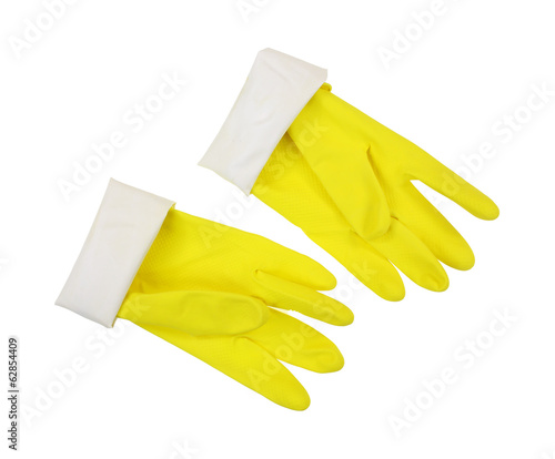 Yellow Latex Gloves Cuff Turned Down