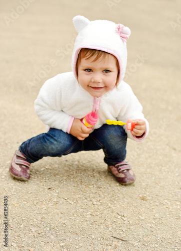 happy girl on the walk