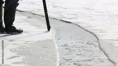 Checking ice with an ice pick