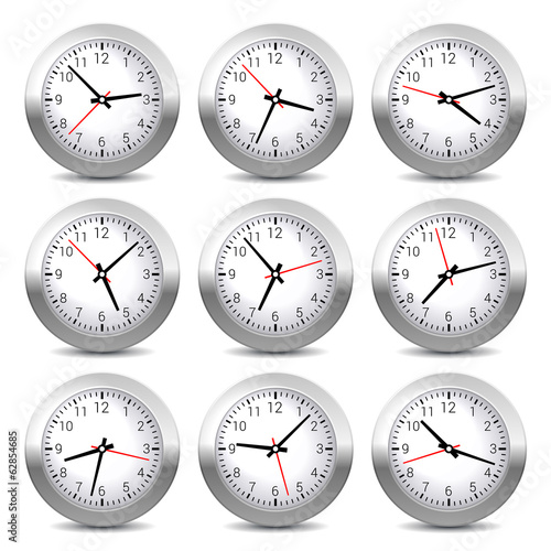 Wall Clock Set on White Background. Vector.