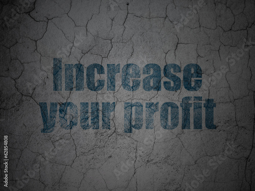 Finance concept: Increase Your profit on grunge wall background