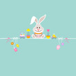 White Easter Bunny & Symbols Retro