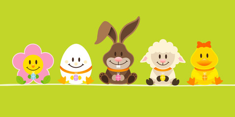 Slim Card Easter Bunny & 4 Friends Green