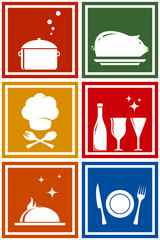 colorful icons with kitchen objects