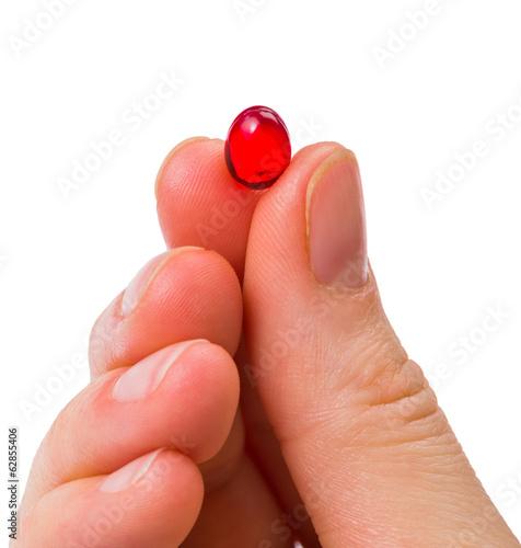 Red gelatin capsule