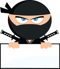 Angry Ninja Warrior Character Over Blank Sign.Flat Design