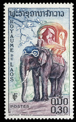 Stamp printed in Laos shows the elephant, circa 1958